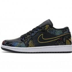 "Air Jordan 1 Low ""Multicolor Snakeskin"" BHM Black Yellow CW5580-001"