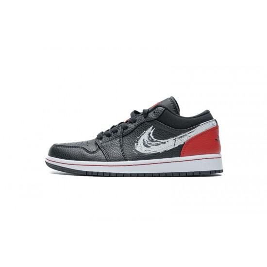 """Hot Air Jordan 1 Low """"Brushstroke Swoosh"""" Black Red DA4659-001 40-46 Shoes"""