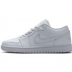 "Air Jordan 1 Low ""White Pure Platnium"" All White 553558-170"