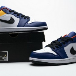 "Air Jordan 1 Low ""White Deep Royal Blue"" Blue Yellow Orange 553558-123"