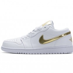 "Air Jordan 1 Low ""White Metallic Gold"" White Gold CZ4776-100"