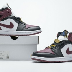 "Air Jordan 1 Mid ""Marron"" Black White Red CZ4385-016 36-46"