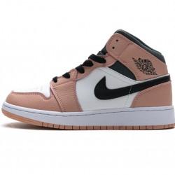 "Air Jordan 1 Mid ""Pink Quartz"" Blakc White Pink 555112-603"