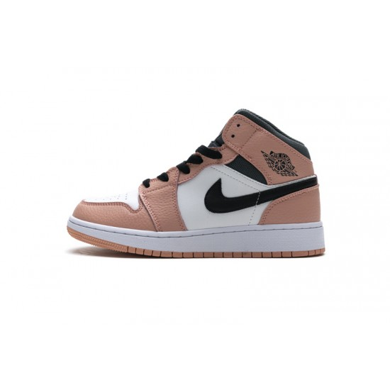 Air Jordan 1 Mid Pink Quartz Blakc White Pink 555112-603