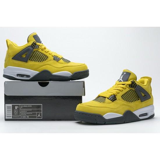 "Best Air Jordan 4 Retro LS ""Lightning"" Yellow Grey 314254-702 40-46 Shoes"