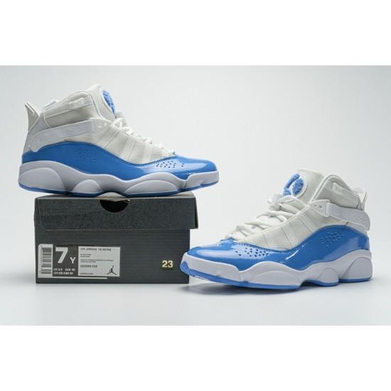 "New Air Jordan 6 Rings BG ""UNC"" White Blue CW7037-100 40-45 Shoes"
