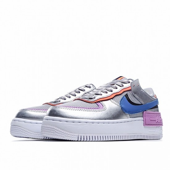 Nike Air Force 1 Shadow Metallic Silver Silver Blue Purple CW6030-001