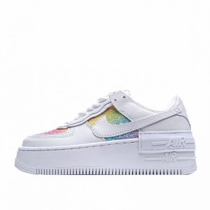 "Nike Air Force 1 Shadow ""Easter"" White Rainbow CW0367-100"