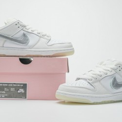 "Nike SB Dunk Low Pro QS ""Diamond Supply"" White Silver BV1310-100 36-46"