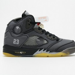 "Off-White x Air Jordan 5 ""Muslin"" Black Grey CT8480-001"