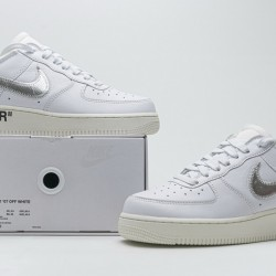 "Off-White x Nike Air Force 1 07 Low ""Conplex Con"" White Silver AO4297-100"